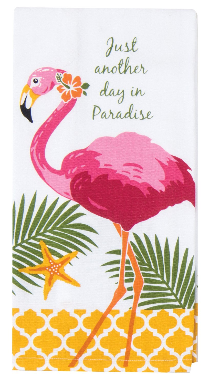 Another Day In Paradise Hot Pink Flamingo Tea Kitchen Dish Towel by Kay Dee