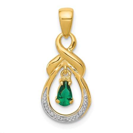 Roy Rose Jewelry 14K Yellow Gold Emerald and Diamond Pendant 1/3-Carat