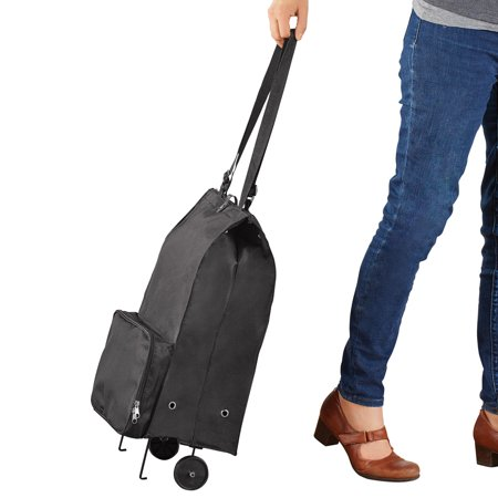 Rolling Tote Bag, Self Folding Collapsible Carrying Case for Easy Travel, Transport, 2 Pockets, 12