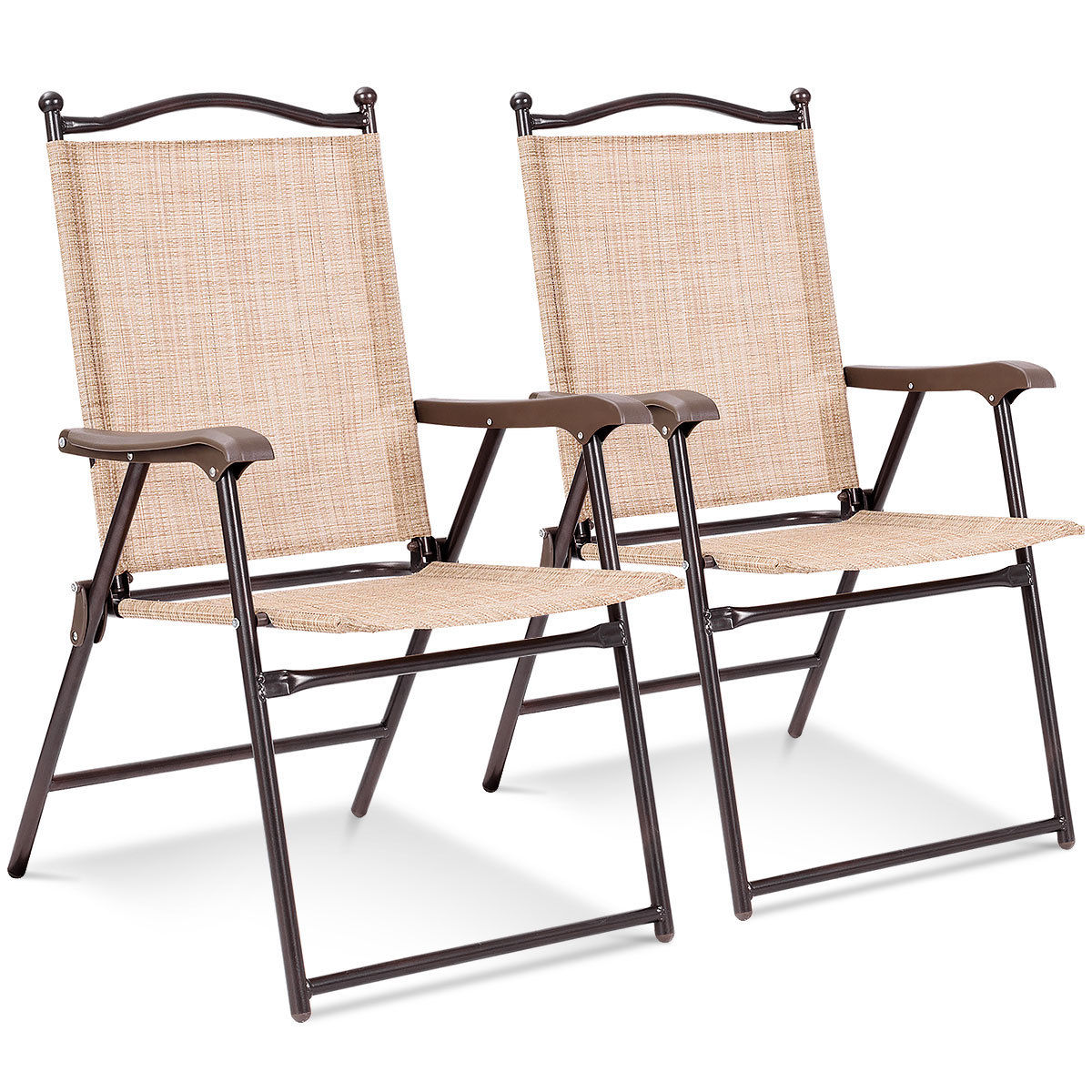 Costway Set of 2 Patio Folding Sling Back Chairs Camping Deck Garden Beach Yellow