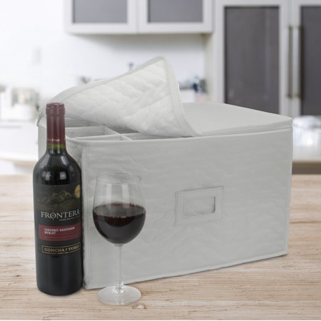 Sorbus Stemware Storage Chest - Deluxe Quilted Case with Dividers - Service for 12 - Great for Protecting or Transporting Wine Glasses, Champagne Flutes, Goblets, and more (Beige)