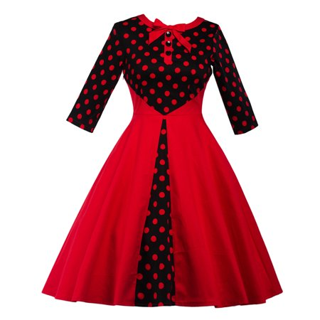 LUXUR Women\'s Evening Party Prom Dress 50s Polka Dots Vintage Swing ...