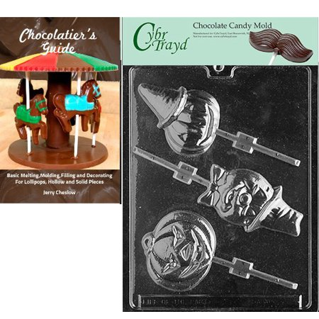 Cybrtrayd Assorted Pumpkin Lolly's Halloween Chocolate Candy Mold with Our Chocolatier's Guide Instructions Manual