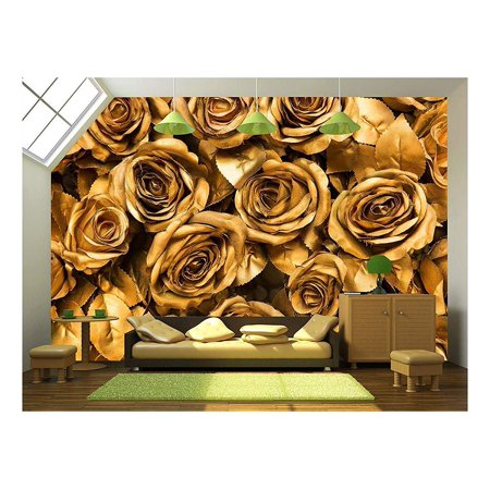 wall26 Golden Fabric Roses Background Removable Wall Mural Self adhesi