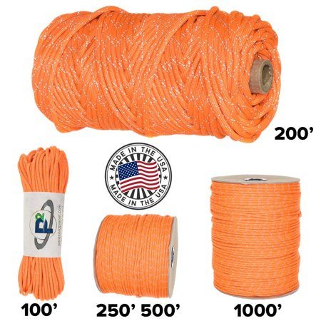 Paracord Planet 700lb Criss Cross Double-Reflective Paracord - 2 Bright Retro-Reflective Tracers for the Best in High-Visibility Cord - 100% Nylon Cord is Made in the USA Reflective Neon Orange 200