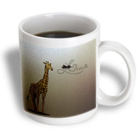 3dRose Sweet Giraffe with the word Love - Cute Animals - Childrens D?cor, Ceramic Mug, 15-ounce