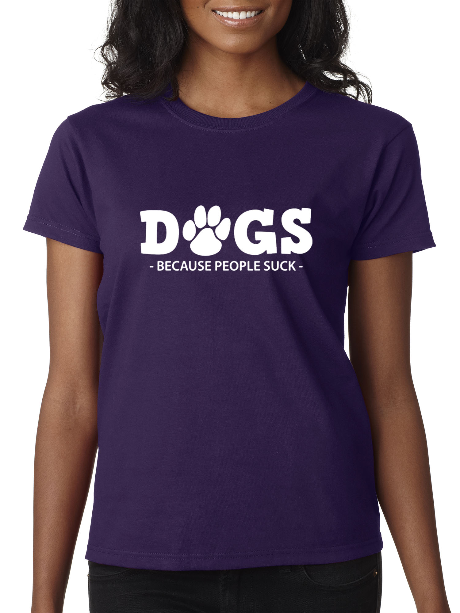 f28cf4bc New Way 993 - Women's T-Shirt Dogs Because People Suck XS Purple