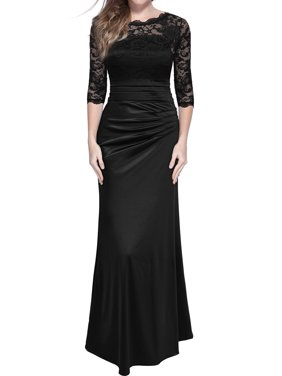 139d969e84769 Product Image MIUSOL Women's Retro Floral Lace Vintage 2/3 Sleeve Slim  Ruched Wedding Maxi Dresses for
