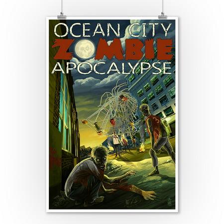 Ocean City, New Jersey - Zombie Apocalypse - Lantern Press Poster (9x12 Art Print, Wall Decor Travel