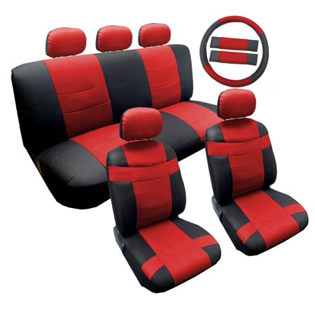 Sporty Two Tone Black/Red Synthetic PU Faux Leather Seat Cover Set 14pc Volkswagen VW Jetta