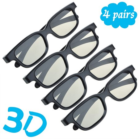 4 Pairs Passive 3D Glasses with Polarized Plastic Lenses for LG 3D TV AG F310