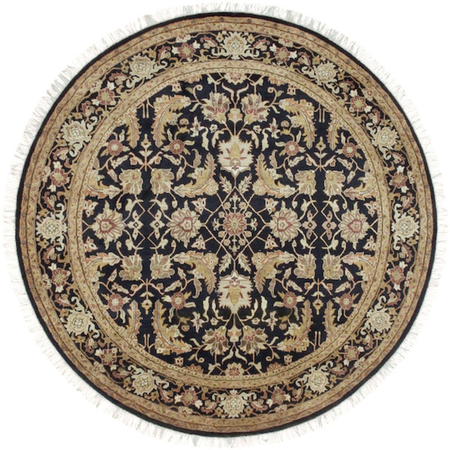 8' Akola Caramel, Jet Black and Russet Wool Round Area Throw Rug