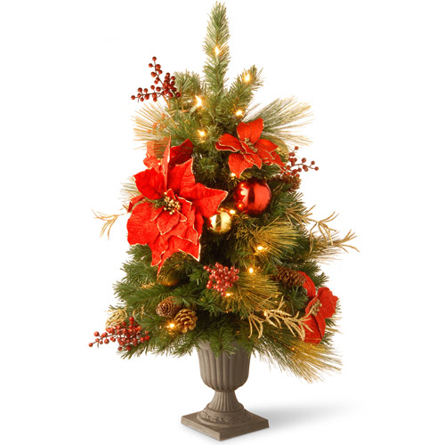 "National Tree Pre-Lit 3' Decorative Collection Home Spun Entrance Red/Gold Artificial Christmas Tree in a 9"" Plastic Pot with 35 Clear Lights"
