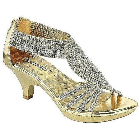 Bridal Evening Shoes (Angel-37 Women Party Evening Dress Bridal Wedding Rhinestone Platform Kitten Heel Sandal Shoes Gold )