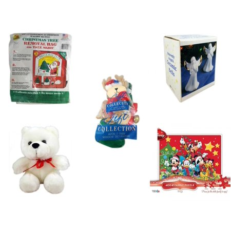 Christmas Fun Gift Bundle [5 Piece] -  Tree Removal Bag And Tree Skirt - Heavenly Angels Ceramic Bells 4