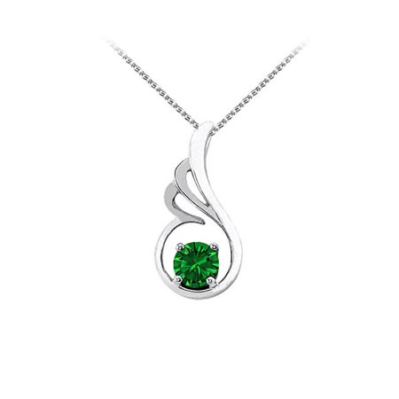 Fine Jewelry Vault UBUPD3066W14E May Birthstone Emerald Pendant in 14K White Gold with Free Chain Best