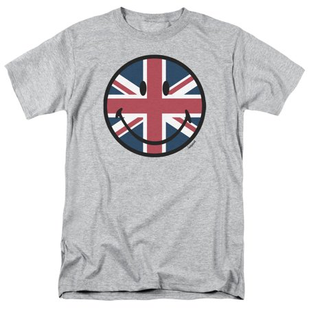 Smiley Men's  Union Jack Face T-shirt Grey - Halloween Smiley Faces For Texting