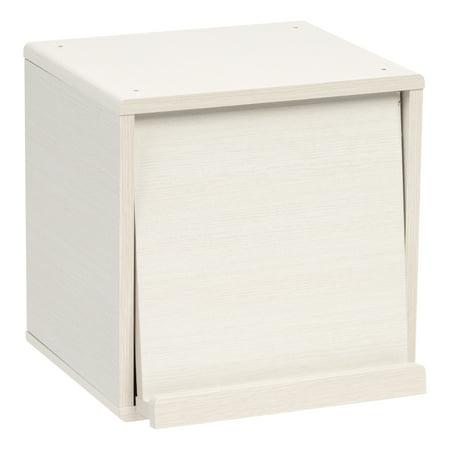 IRIS Wood Storage Cube with Pocket Door, White Pine, Kuda Series