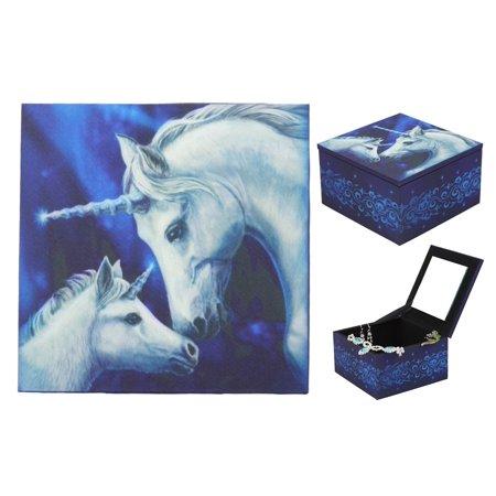 First Keepsake Trinket (Ebros Sacred Love Unicorn Mother And Foal Mirror Jewelry Box Purity Unicorn Azure Trinket Keepsake Personal Storage Accessory )