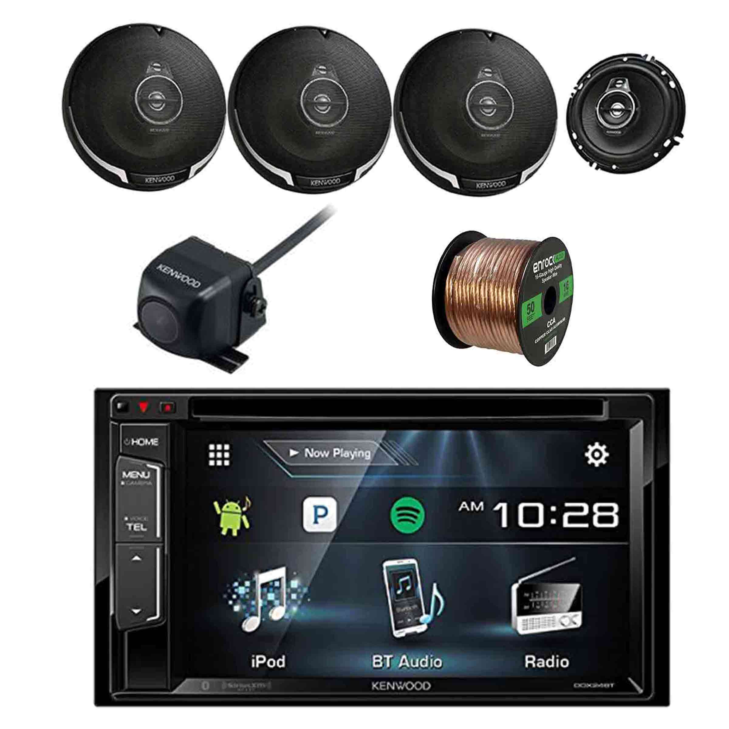 "Kenwood DDX24BT Multimedia Bluetooth Receiver w/Kenwood Rearview Wide Angle View Camera, Kenwood Performance Series 6.5"" 3-way 320W Car Speakers(2-Pairs) & Enrock 16G 50' Speaker Wire"