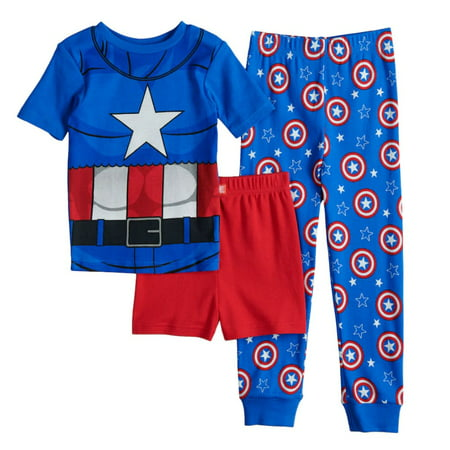 Marvel Captain America Avengers Boys' 3 Piece Pajamas Set - Marvel Boys