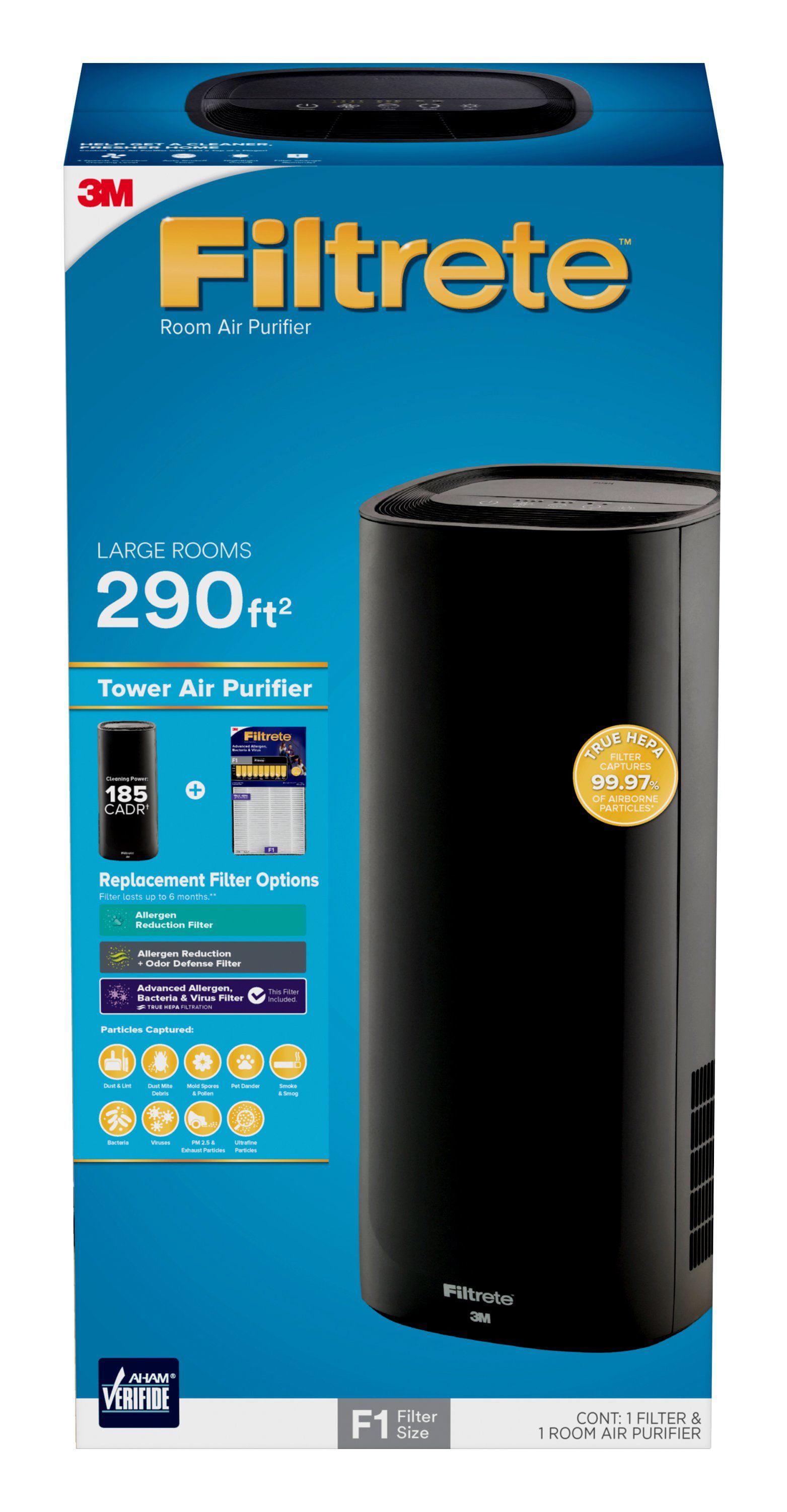Filtrete by 3M Room Air Purifier, Large Room Tower, 290 SQ Ft ...