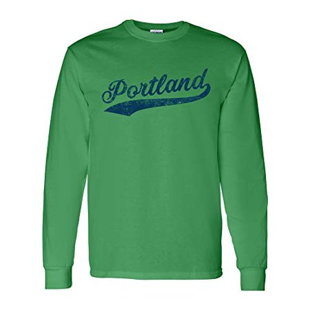 UGP Campus Apparel Portland Baseball Script - Hometown Pride, Pitcher Long Sleeve T Shirt - Large - Green