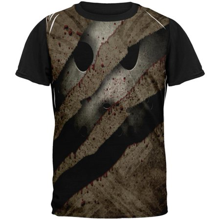 Halloween Horror Movie Mask Slasher Attack All Over Mens Black Back T Shirt](Halloween Art Attack Crafts)