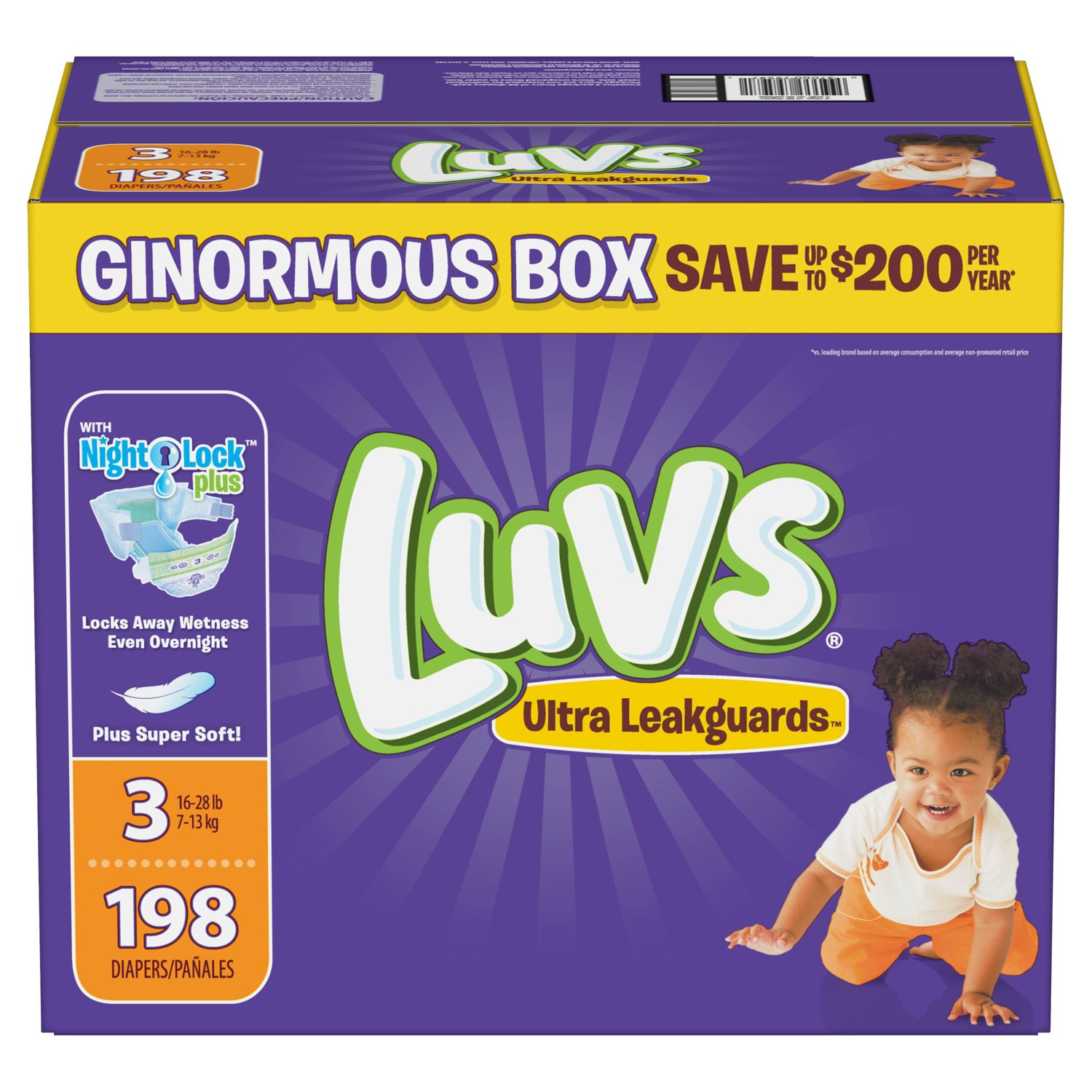 Luvs Ultra Leakguards Diapers Size 3  198 ct. (16-28 lb.)