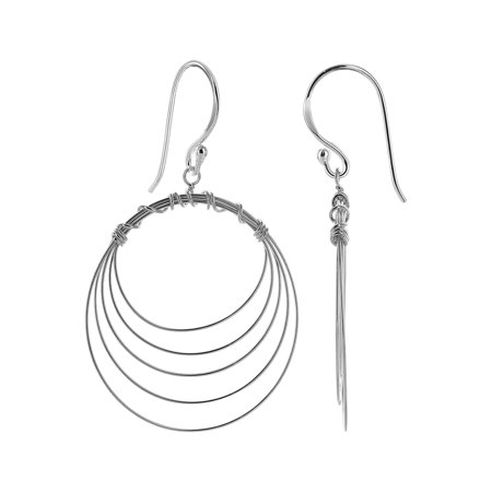 Multi Stone Dangle - Gem Avenue 925 Sterling Silver Multi Circle Design French wire Hook Dangle Earrings