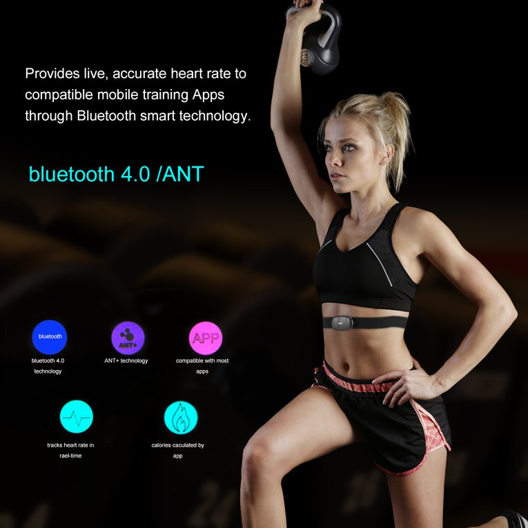 Smart Bluetooth V4.0 Fitness Wireless Heart Rate Monitor Sensor Chest Strap
