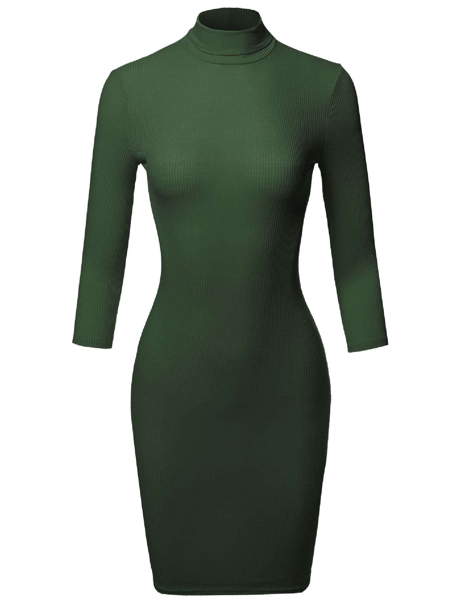 FashionOutfit Women's Casual 3 4 Sleeve Turtleneck Ribbed Mini Body-Con Dress by