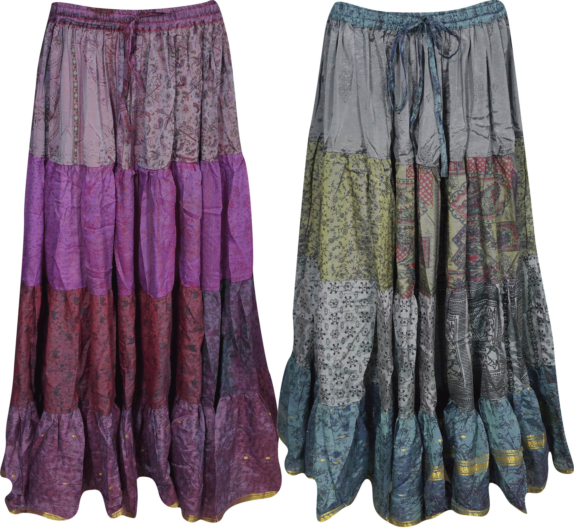 Mogul Womens Long Maxi Skirt Silk Sari Full Flare A-Line Gypsy Boho Fashion Indian Skirts Lot Of 2 Pcs