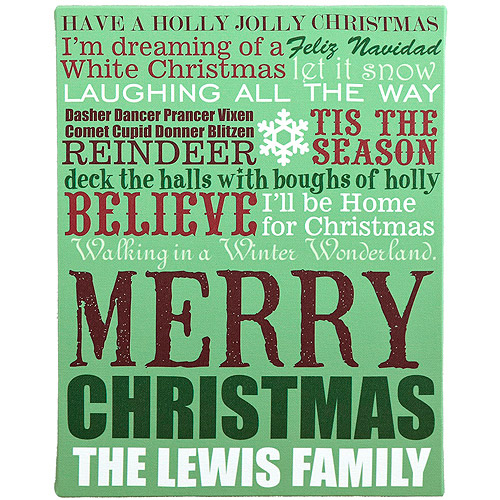 "Personalized 11"" x 14"" Christmas Lyrics Canvas"