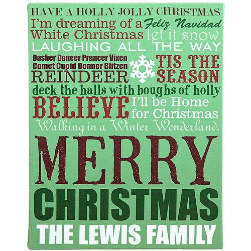 "Personalized 11"" x 14"" Christmas Lyrics Canvas"
