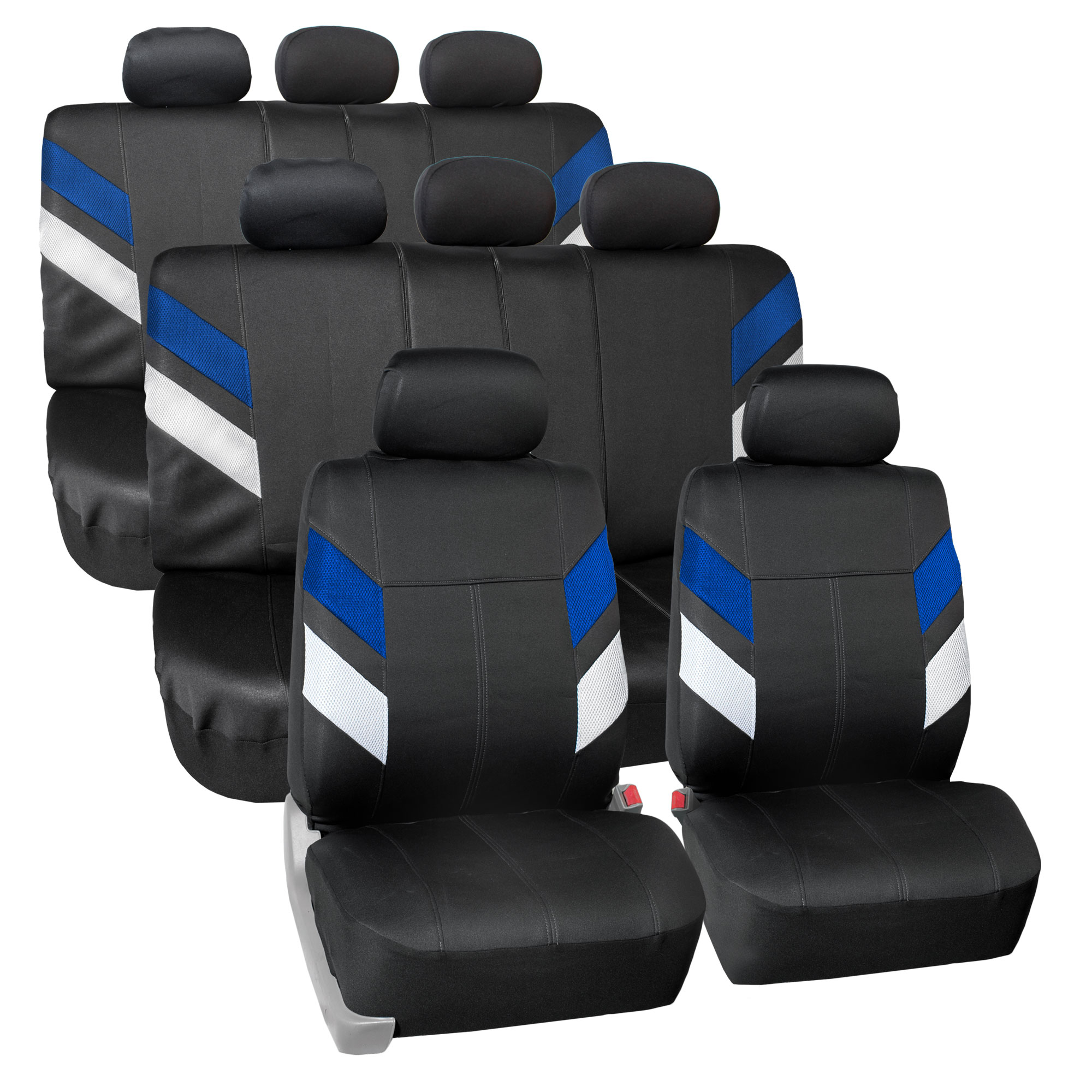 FH Group, 3 Row Neroprene Auto Car SUV Van Seat Covers, Complete Full Set for 8 Seaters, 12 Colors
