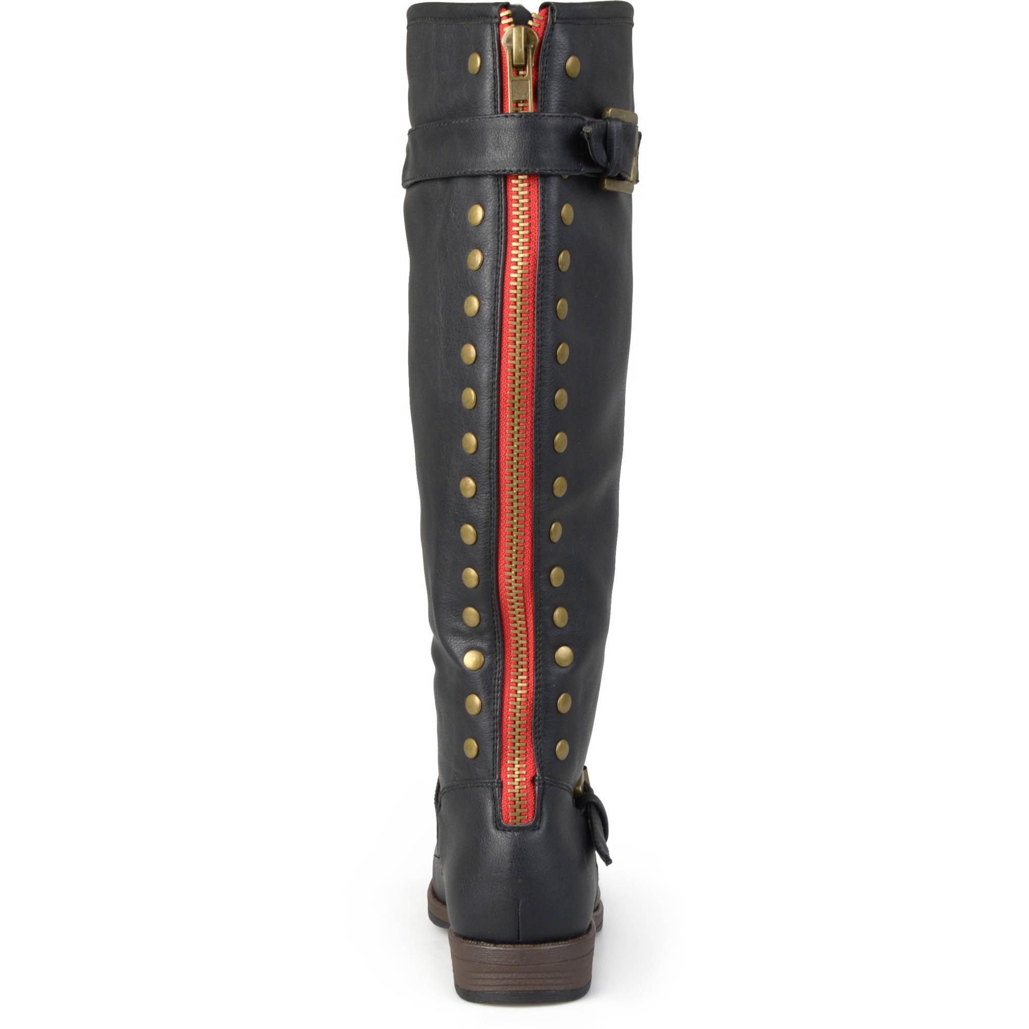 aacd5236a4de Brinley Co. - Women s Extra Wide Calf Knee-high Studded Riding Boots -  Walmart.com