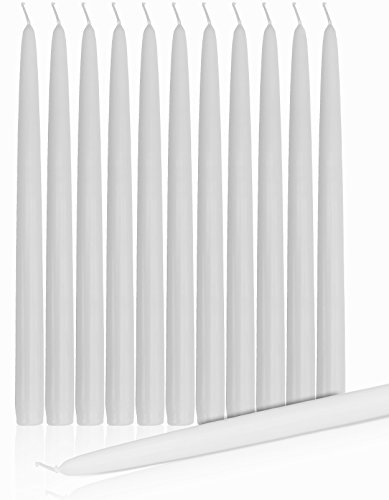 Taper Candles Dripless and Smokeless Clean Burning 15 Inch Set Of 12 White by