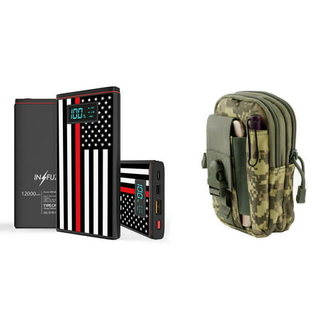 INFUZE Slim Pocket 12000mAh Portable Charger Dual (USB-A, USB-C) 18W QC 3.0 Power Bank (Thin Red Line USA Flag), Organizer Pouch (ACU Pixel Camo) for Samsung Galaxy J3 (J3 V 3rd Gen, Star, Orbit) ()