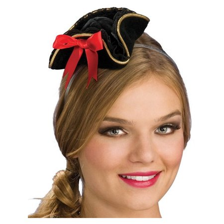 Womens  Black Mini Micro Small Pirate Tricorn -