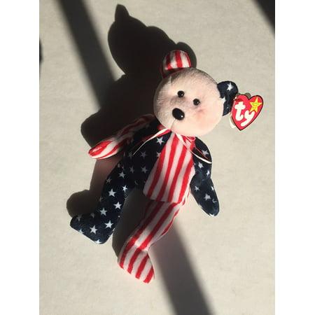 Ty Beanie Babies Spangle - American Bear (Red Face), Official Ty Beanie Babies Product By Beanie Babies Teddy Bears Ship from
