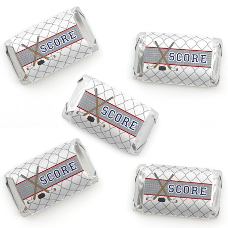 Shoots & Scores! - Hockey - Mini Candy Bar Wrapper Stickers - Baby Shower or Birthday Party Small Favors - 40