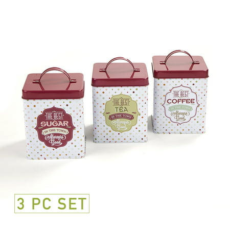 Three Piece Canister Set (Mind Reader Tin 3 Piece Canister Set, Multi-White)