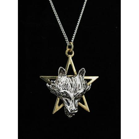 Two Tone Wolf Pentagram Pendant w/ Necklace Power Talisman - image 1 of 5