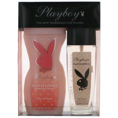 Playboy Play It Lovely By Playboy Body Fragrance Spray 2.5 Oz & Shower Cream 8.4 Oz Lovely Remembrance Gift