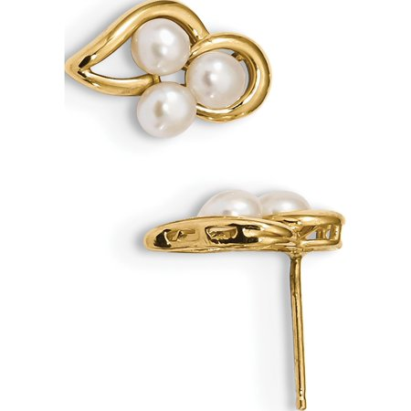 Bouton blanc de 14K Or jaune d'eau douce de perles de culture Boucles d'oreilles (post) de 8.55x12.4mm - image 2 de 2
