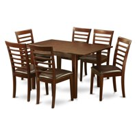 East West Furniture Picasso 7 Piece Straight Ladderback Dining Table Set