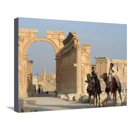Young Men on Camels, Monumental Arch, Archaelogical Ruins, Palmyra, Syria Stretched Canvas Print Wall Art By Christian