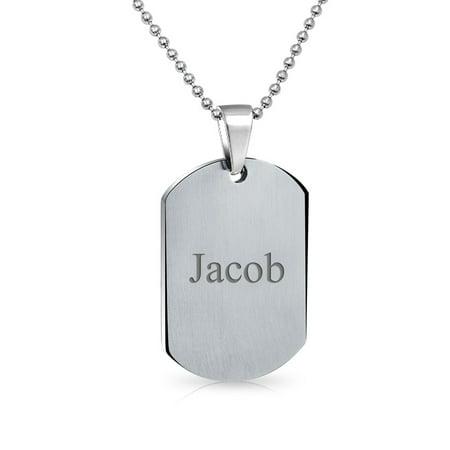 Medical Alert Id Dog Tag Pendant Engravable Necklace For Men