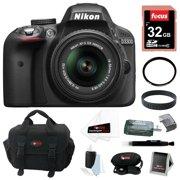 Nikon D3300 DSLR Camera w/ 18-55mm Lens & Focus Digital Slave Flash Bundle